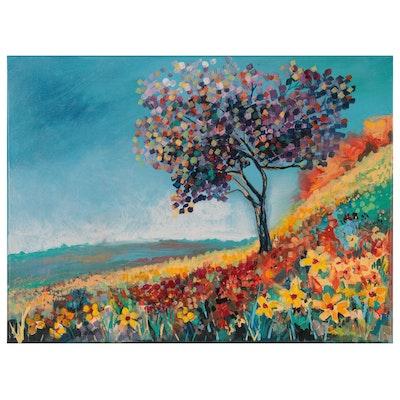 Farshad Lanjani Acrylic Painting of Tree on Hill, 21st Century