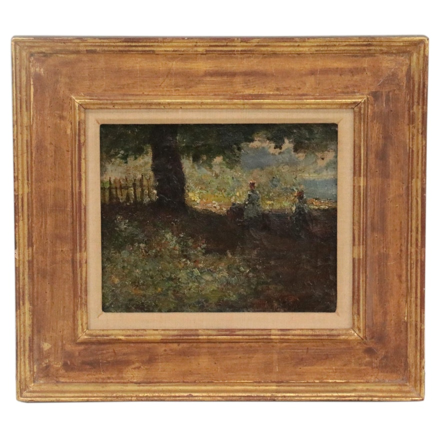 Edward Henry Potthast Impressionist Landscape Oil Painting, Late 19th Century