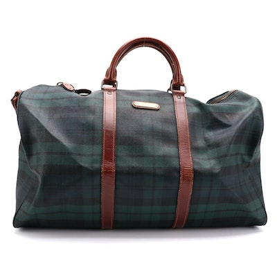Ralph Lauren Black Watch Plaid Coated Canvas Weekender Bag with Leather Trim