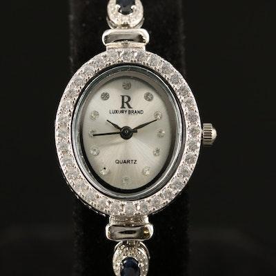 Luxury Brand Quartz Sterling Silver Sapphire and Cubic Zirconia Wristwatch