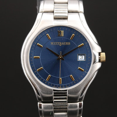 Wittnauer Blue Dial with Date Stainless Steel Wristwatch