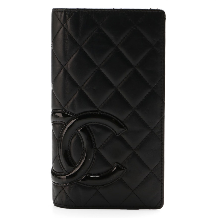 Chanel CC Cambon Wallet in Quilted Black Lambskin and Patent Leather