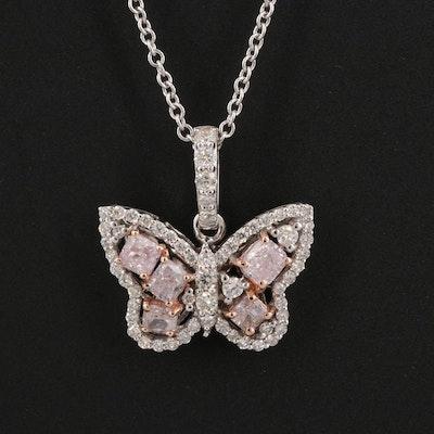 18K Diamond Butterfly Pendant Necklace