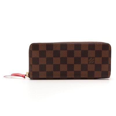 Louis Vuitton Clemence Zippy Wallet in Damier Ebene Canvas