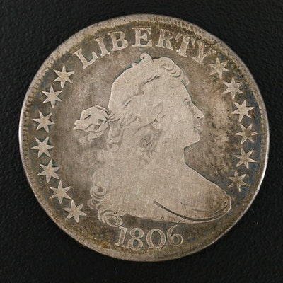 """1806 """"Pointed 6 with Stem"""" Draped Bust Silver Half Dollar"""