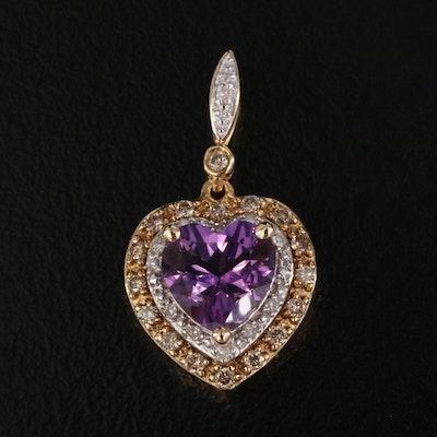 14K Amethyst and Diamond Heart Pendant