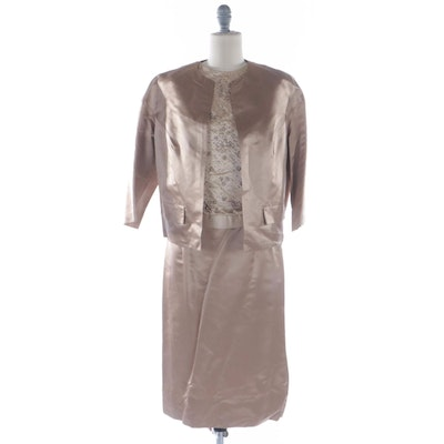 Dynasty Skirt Suit in Soft Gold Silk with Hand-Beaded Sleeveless Top