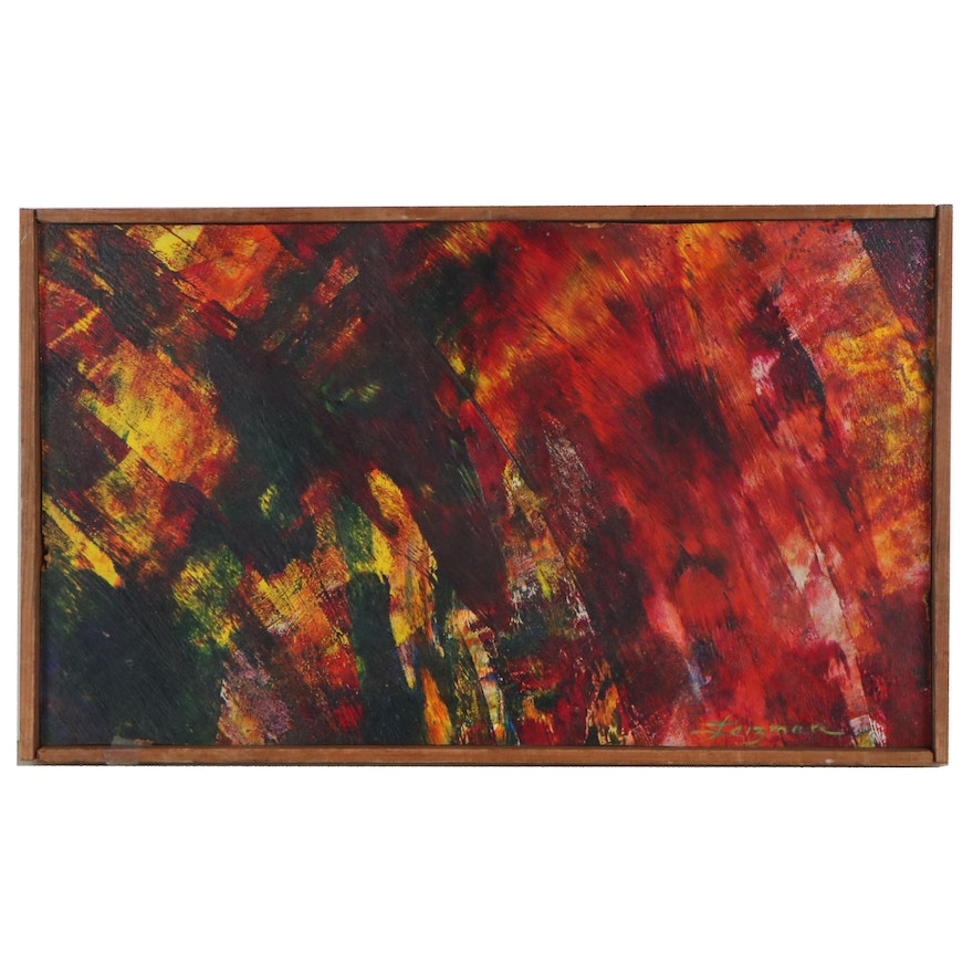 """Leizman Oil Painting """"Abstract Reds,"""" Mid-Late 20th Century"""