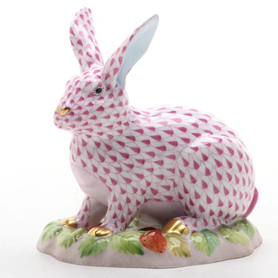 "Herend Raspberry Fishnet ""Berry Bunny"" Porcelain Figurine"