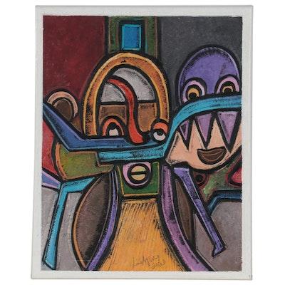 "Lanre Ayuba Abstract Figural Acrylic Painting ""Dreamers,"" 2021"