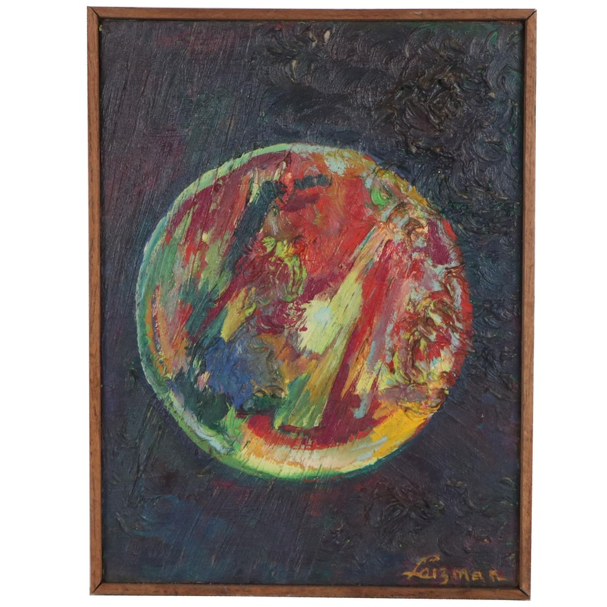 "Leizman Impasto Oil Painting ""Circle/Red,"" Mid-Late 20th Century"
