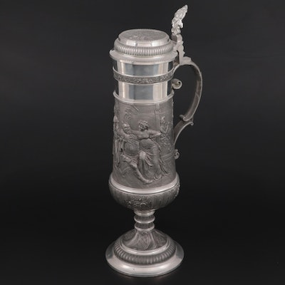 Johann Dietsch Pewter and Silver Plate Genre Scene Stein, Mid to Late 20th C.