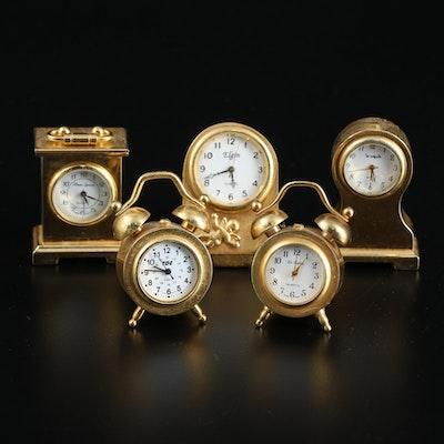 Elgin Miniature Metal Quartz Table Clocks, Late 20th to 21st Century