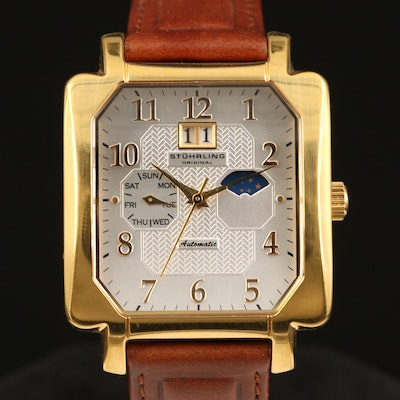 """Stührling """"Original"""" Day, Date and Moon Phase Stainless Steel Wristwatch"""