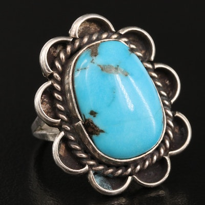 Southwestern Style Sterling Silver and Turquoise Ring with Scalloped Edge