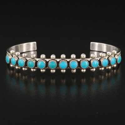 Southwestern Style Sterling Silver Faux Turquoise Cuff