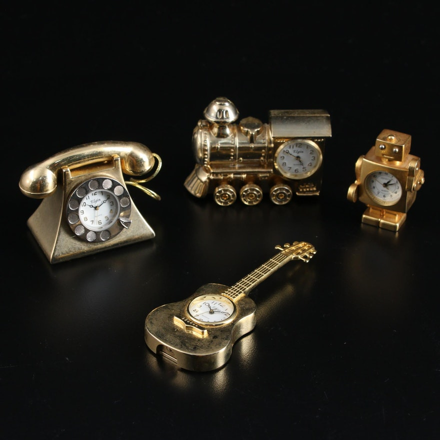 Elgin Miniature Figural Decorative Clocks, Late 20th Century