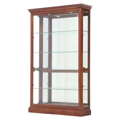 Federal Style Mahogany-Finish and Glass Illuminated Side-Open Cabinet