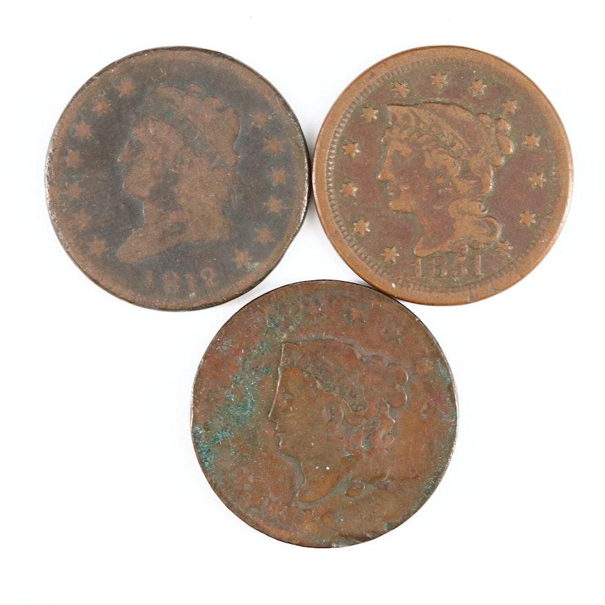 Three U.S. Large Cent Coins