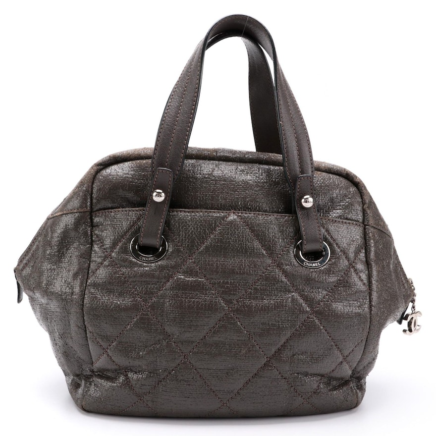 Chanel Gray Quilted Coated Canvas Tote