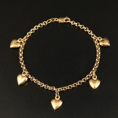 14K Heart Charm Bracelet