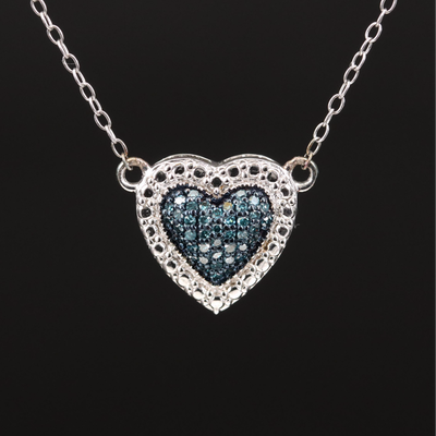 Sterling Diamond Heart Necklace