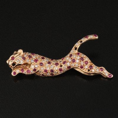 14K Diamond and Ruby Zoomorphic Feline Brooch