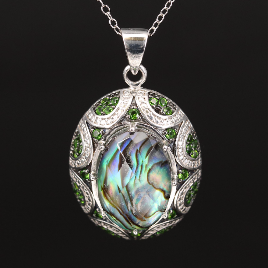 Sterling Abalone Quartz Doublet and Diopside Necklace