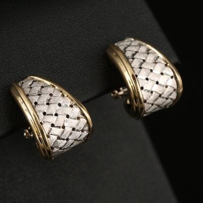 14K Woven J-Hoop Earrings