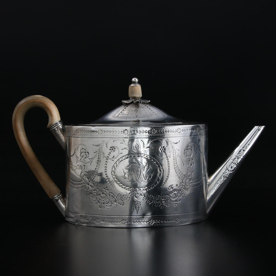 Benjamin Mountigue of London Chased Sterling Silver Teapot, 1785