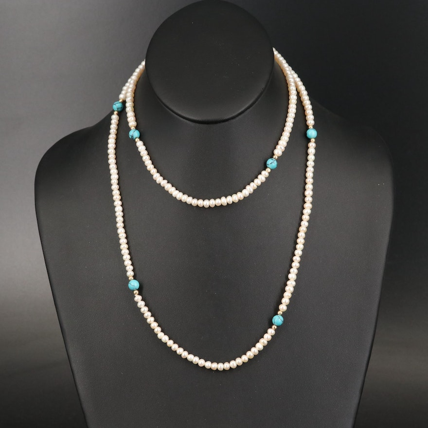 Pearl and Turquoise Endless Necklace
