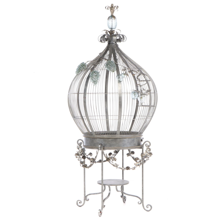 Large Glass-Mounted, Patinated, and Wrought Iron Cage-on-Stand