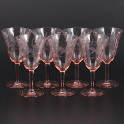 Pink Optic Panel Floral Etched  Wine Glasses, Early to Mid 20th Century