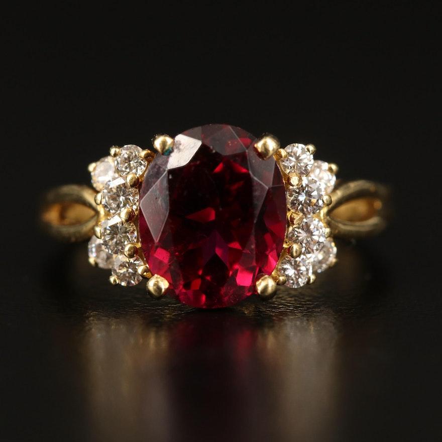 18K Rhodolite Garnet and Diamond Ring