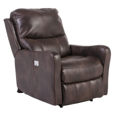 Contemporary Leather Power Recliner