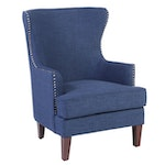 Contemporary Upholstered and Tacked Demi-Wing Armchair
