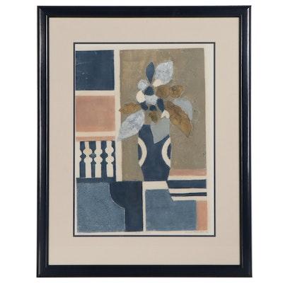 "Margot Rosenthal Collograph ""Blue Interior,"" Late 20th Century"