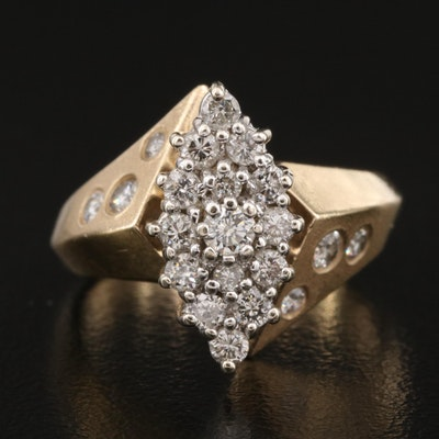 14K Diamond Cluster Navette Ring