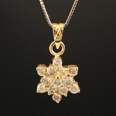 10K Diamond Pendant on 14K Box Chain Necklace