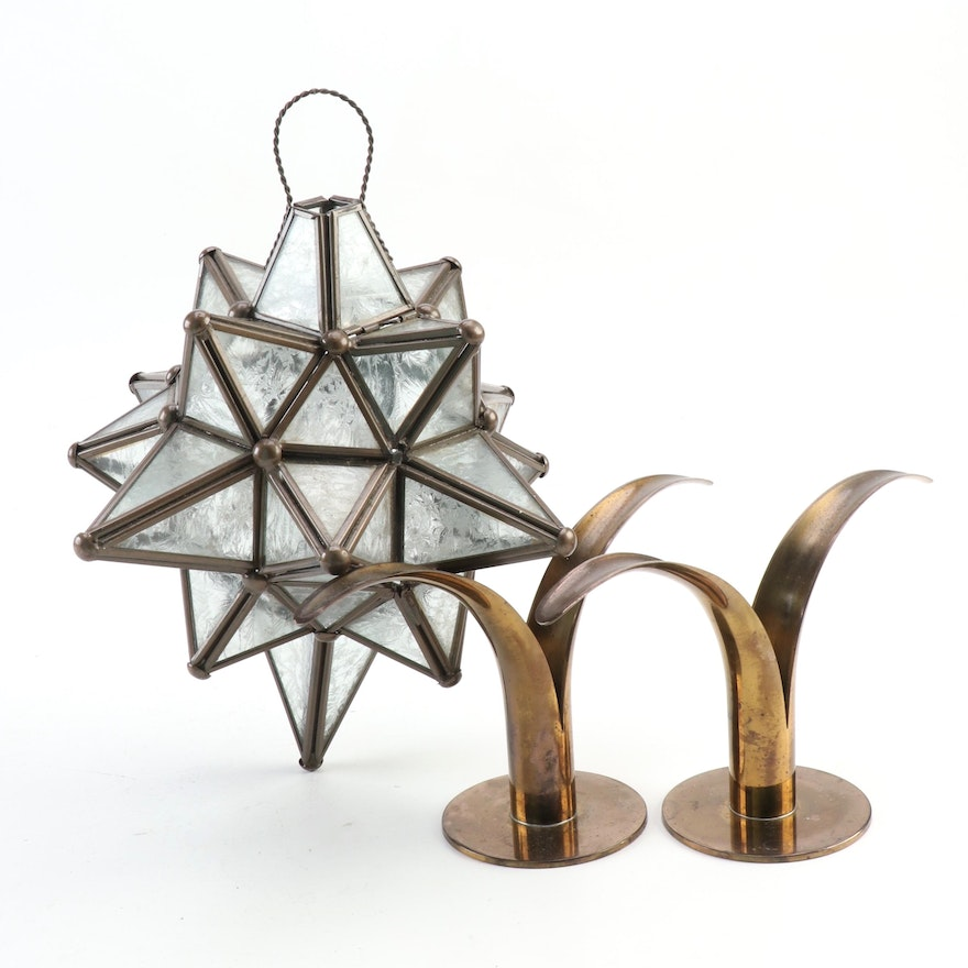 Ystad-Metall Swedish Lily Candlesticks with Moravian Star Lantern Candle Holder