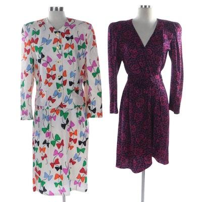 Louis Feraud Silk Skirt Suit and R & K Silk Wrap Dress