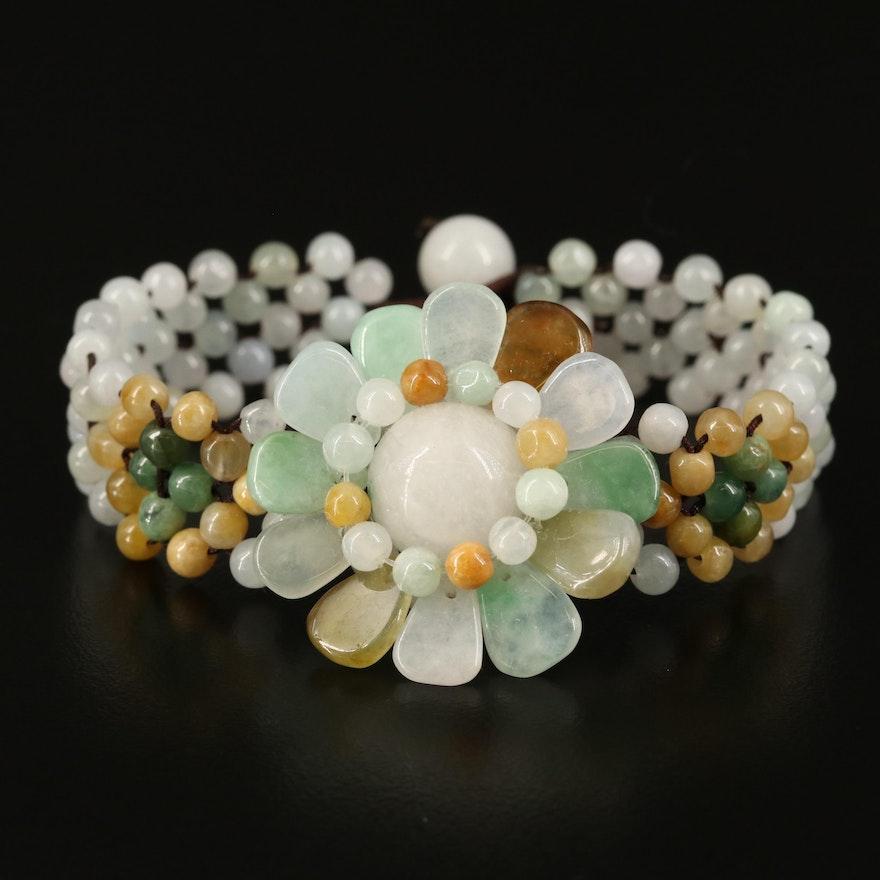 Flower Beaded Bracelet with Quartz and Jadeite