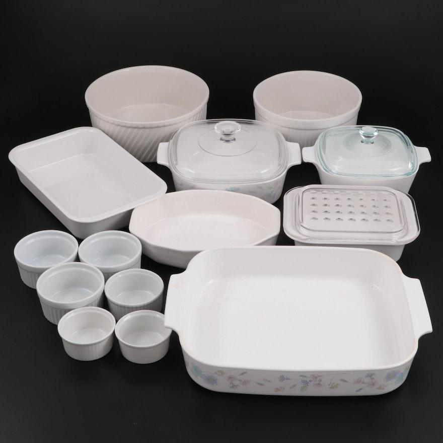 Corningware, Hall, Pfaltzgraff, and Apilco Ceramic Ramekins and Bakeware