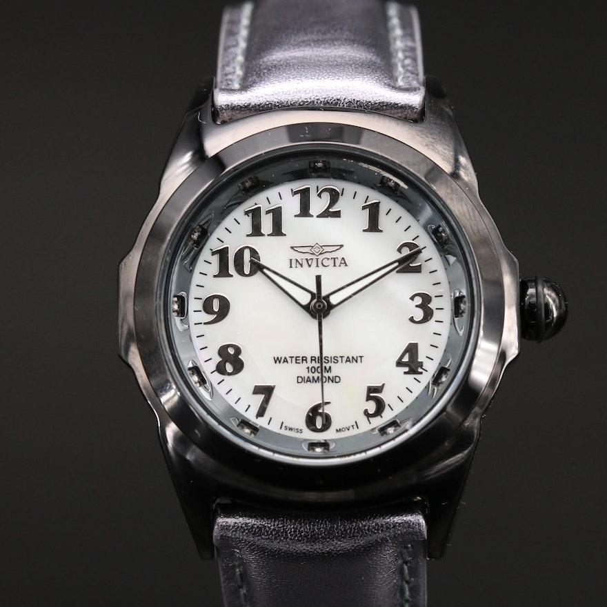 "Invicta ""Black Magic"" Diamond and Stainless Steel Quartz Wristwatch"