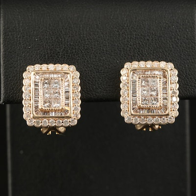 14K 2.48 CTW Diamond Button Earrings with Scallop Detail