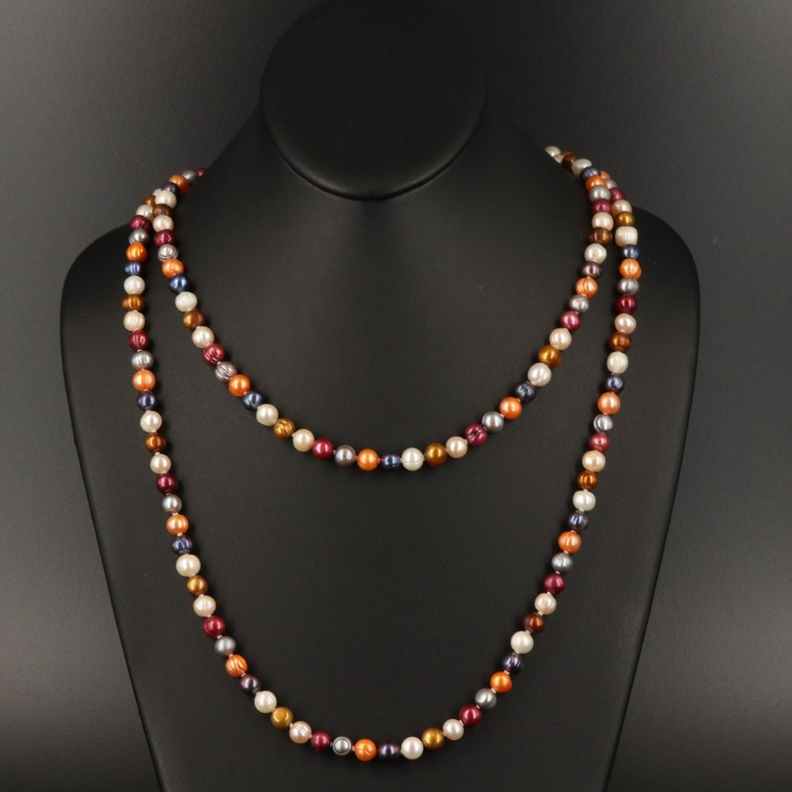 Endless Multicolor Pearl Necklace