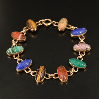 Scarab Gold-Filled Bracelet with Tiger's Eye, Unakite and Chalcedony