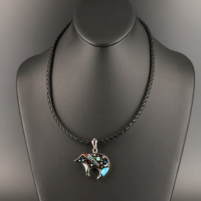 Sterling Mother of Pearl and Gemstone Galaxy Bear Pendant Necklace