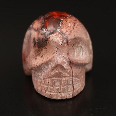 Carved Boulder Opal Skull