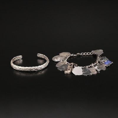 Sterling Cuff with Vintage Danecraft Charm Bracelet